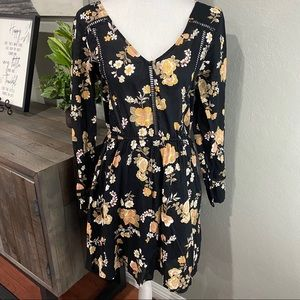Cotton On Black Floral Dress 100% cotton Medium
